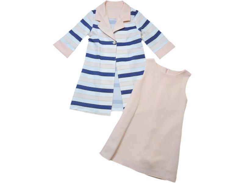 8042 Wholesale striped design cardigan with dress set for girl children clothes (5-6-7-8 age)