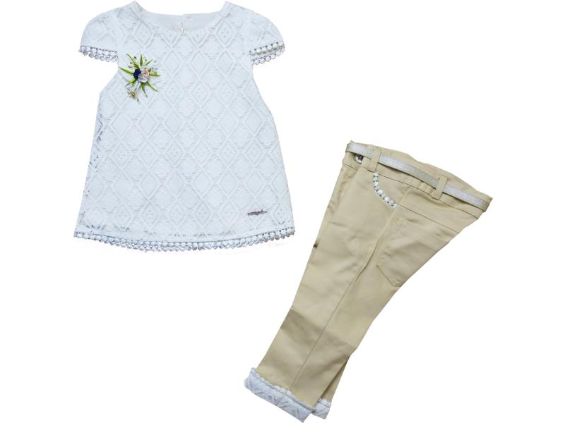 8067 Wholesale lace fabric embroidered top with pant set for girl kids clothes (1-2-3-4 age)