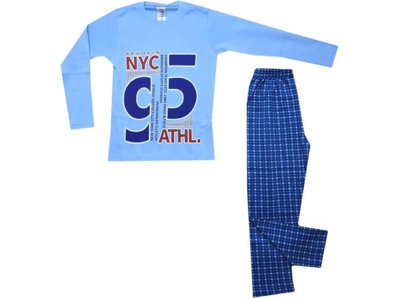 5076 Wholesale 95 printed t-shirt with chequered trouser pyjama set for boy (7-8-9 age)