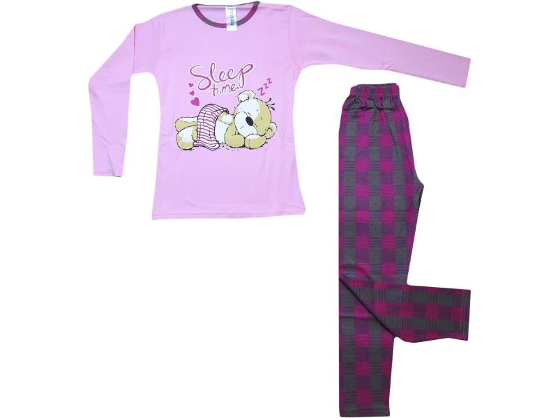 5087 Wholesale bear printed t-shirt and chequered trouser pyjama set for children (7-8-9 age)