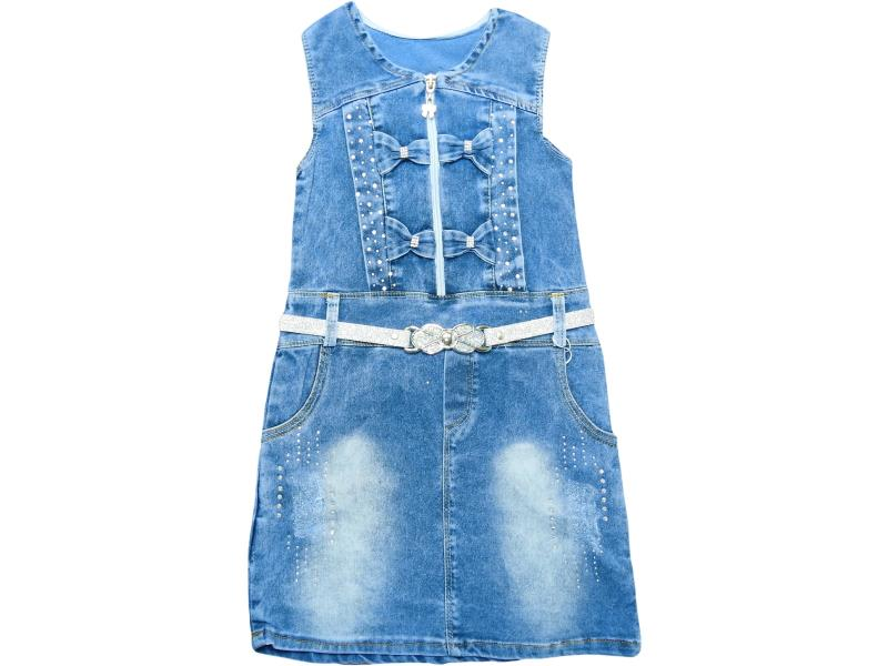1052 Wholesale denim faded design dress for girl children clothes (6-7-8-9 age)
