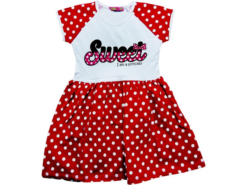 7021 Wholesale sweet print spotty embroidery dress for girl kids clothes (1-2-3-4-5 age)