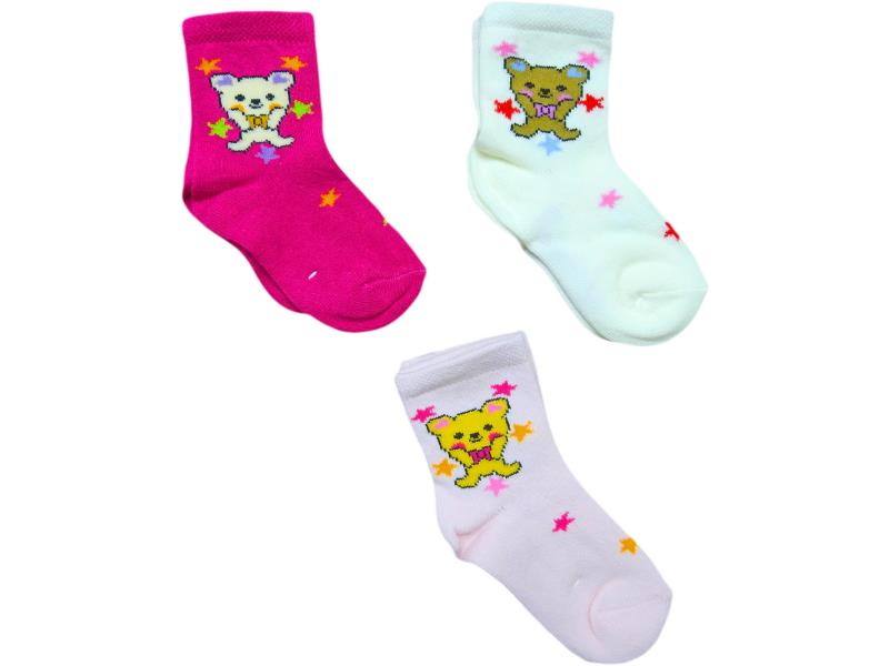 2126 Wholesale bear printed socks 12 pieces in package for baby