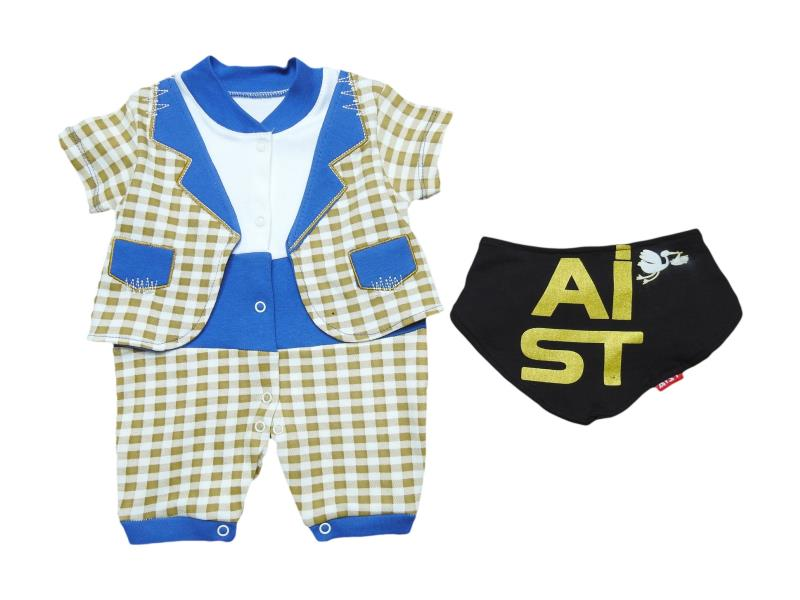 2701 Wholesale chequered romper for boy baby clothes (3-6-9 month)