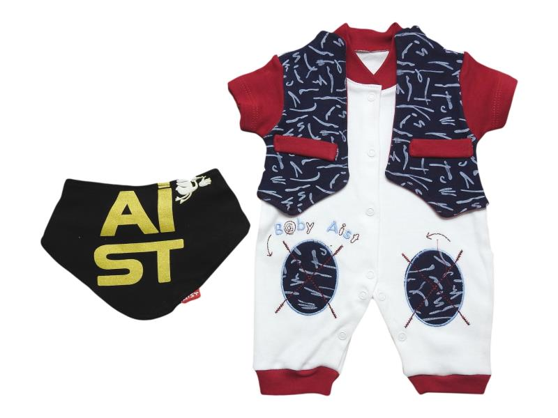 2703 Wholesale romper with fular for boy baby clothes (3-6-9 month)