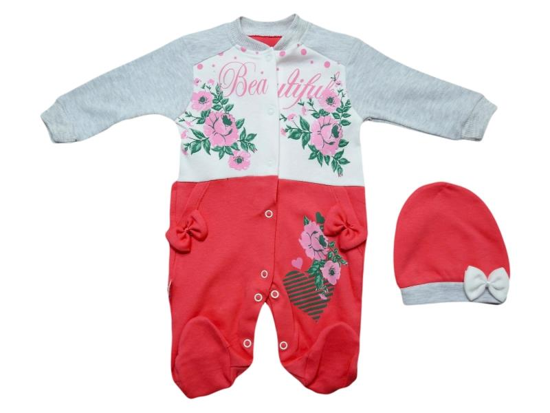 1021 Wholesale flower printed romper with beanie for girl baby clothes (3-6-9-12 month)