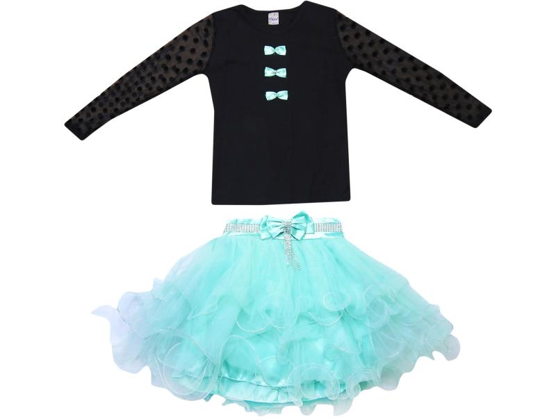 6708 Wholesale tulle design skirt with blouse set for girl children clothes (9-10-11-12 age)