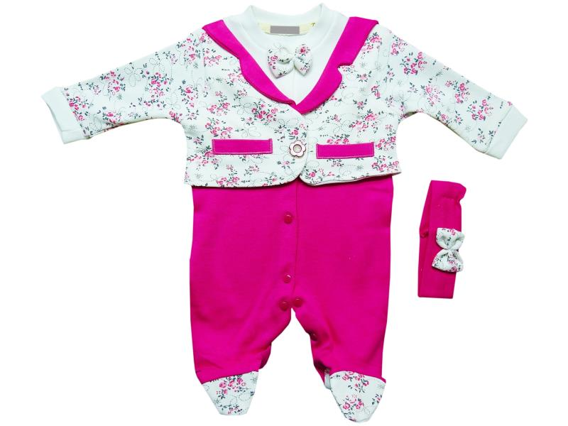 1042 Wholesale flower embroidery romper with headband set for girl baby clothes (3-6-9 month)