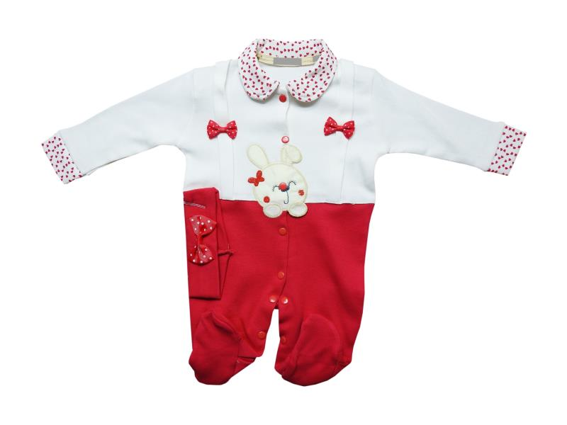 1044 Wholesale romper with headband set for girl baby clothes (3-6-9 month)