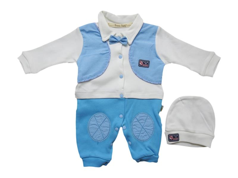 1038 Wholesale romper with beanie set for boy baby clothes (3-6-9 month)