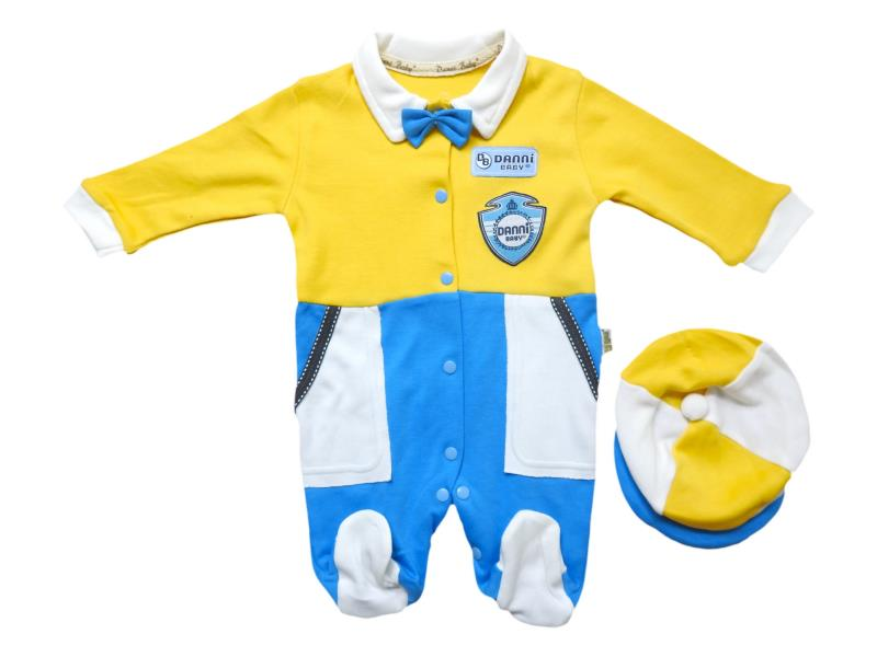 1047 Wholesale romper with beanie for boy kids clothes (3-6-9 month)