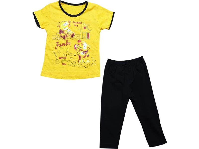 98 Wholesale bear printed t-shirt and tight set for girl kids clothes (1-2-3-4 age)