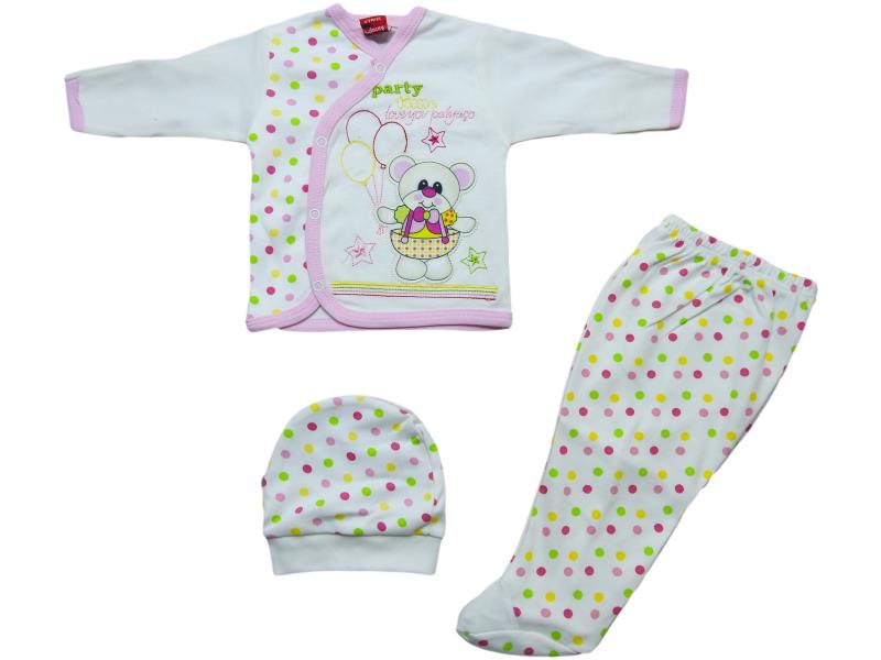 20055 Wholesale bear printed topwith trouser and beanie set for newborn baby clothes (0-3 month)