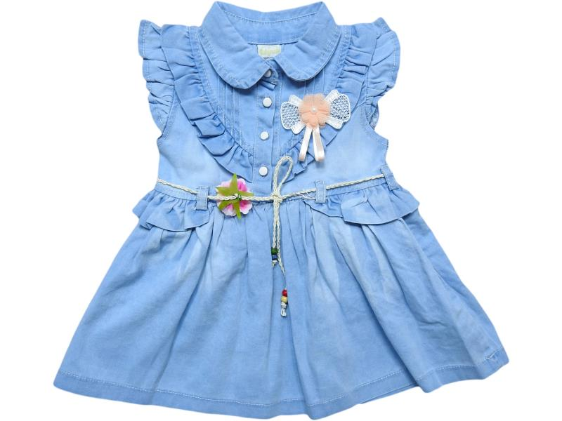 911 Wholesale flower applique denim dress for girl kids clothes (2-3-4-5 age)