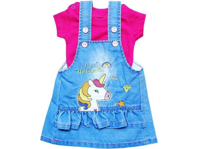 967 Wholesale unicorn printed denim overall dress with t-shirt set for girl kids clothes (3-6-9-12 month)