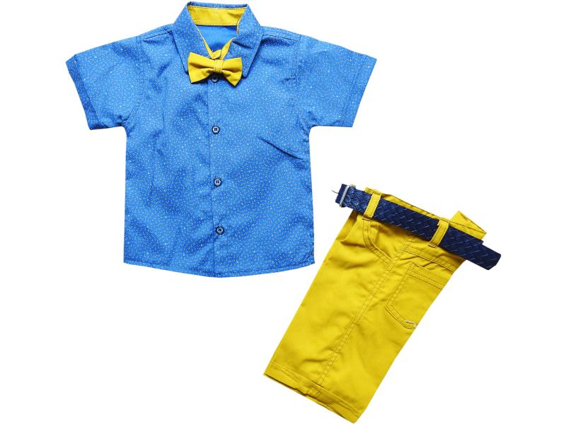 88 Wholesale bow tie shirt with short set for boy children clothes (2-3-4-5 age)