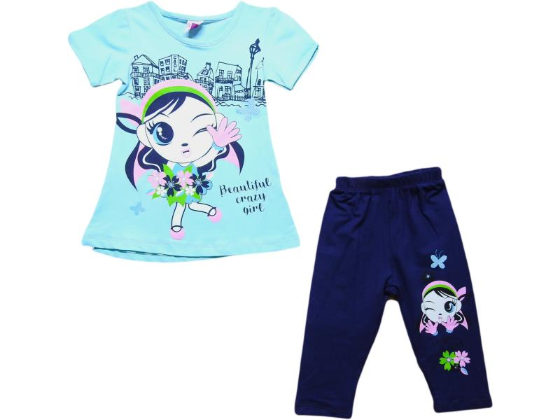 107 Wholesale crazy girl printed t-shirt with tight set for girl kids clothes (2-3-4-5 age)