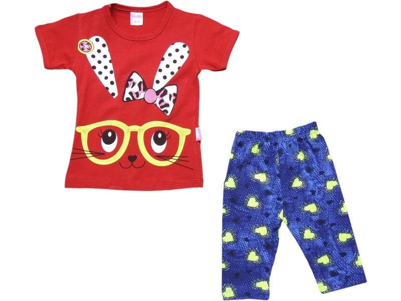 707 Wholesale rabbit face printed t-shirt with tight set for girl children clothes (1-2-3-4 age)