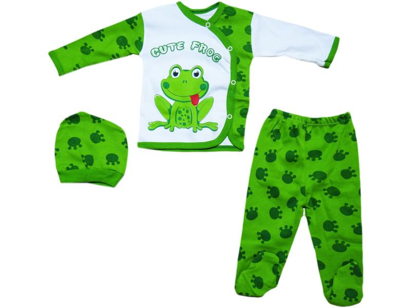 "570 Set for newborn 3 items, a shirt with a print ""frog""+slider+cap,for girls 0 - 3 months"