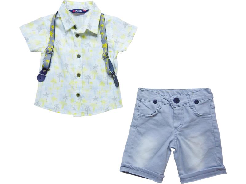 3074 Wholesale flower embroidery suspender with shirt for denim short set for boy kids clothes (1-2-3-4-5 age)