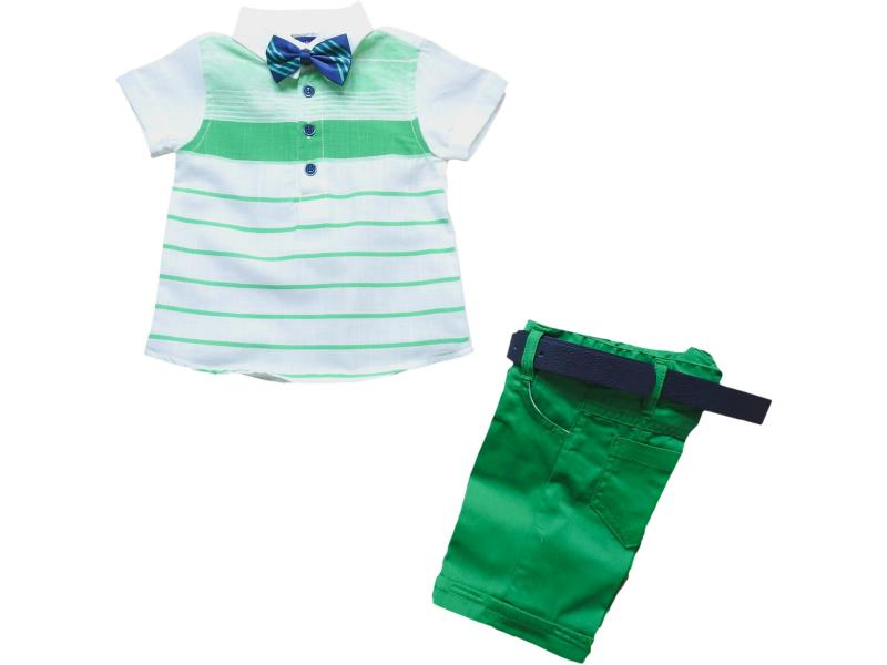 3061 Wholesale striped design polo t-shirt with short set for boy children clothes (1-2-3-4-5 age)