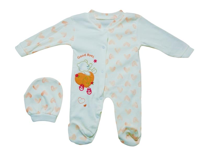 0101 Wholesale assorted printed romper with beanie set for babies (3-6-9 month)