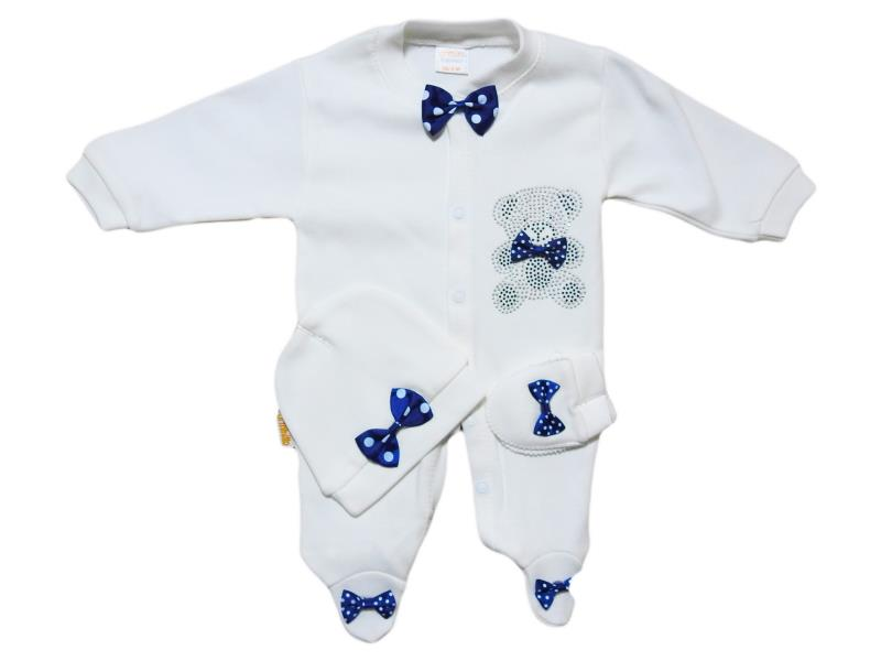 913 Wholesale jumpsuit with bow tie + hat +mittens, newborn baby boys 3-6-9 months