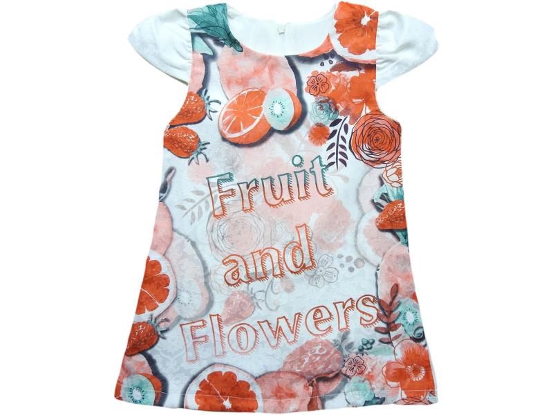 613 Wholesale fruit and flower printed dress for girl kids clothes (5-6-7-8-9 age)