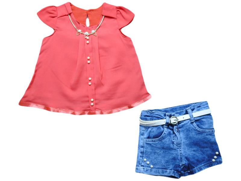 667 Wholesale blouse with denim short set for girl kids clothes (1-2-3-4 age)