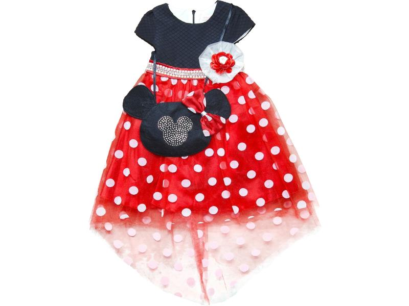 486 Wholesale spotty tulle dress with bag set for girl children clothes (5-6-7-8 age)