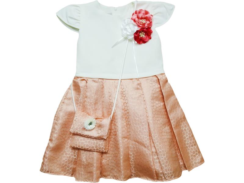 5041 Wholesale flower applique dress with shoulder bag set for girl kids clothes (5-6-7-8 age)