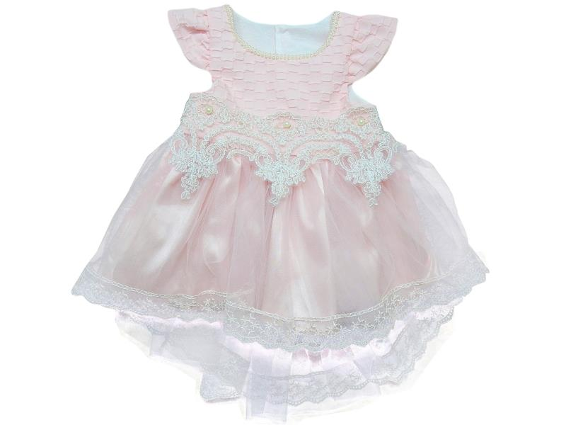 606 Wholesale tulle lace fabric embroidery dress for girl children clothes (1-2-3-4 age)