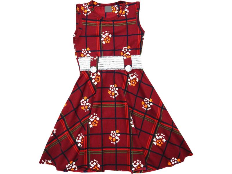 442 Wholesale flower chequered dress for girl children clothes (6-7-8-9-10 age)