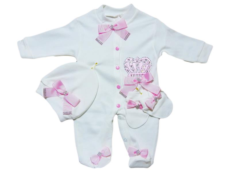 24016 Jumpsuit with lace and bow + cap +mittens for baby girls and boys 62 cm
