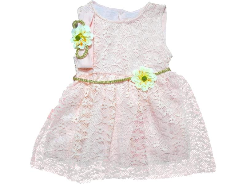 175 Wholesale lace fabric dress with flowery headband set for girl baby clothes (6-9 month)