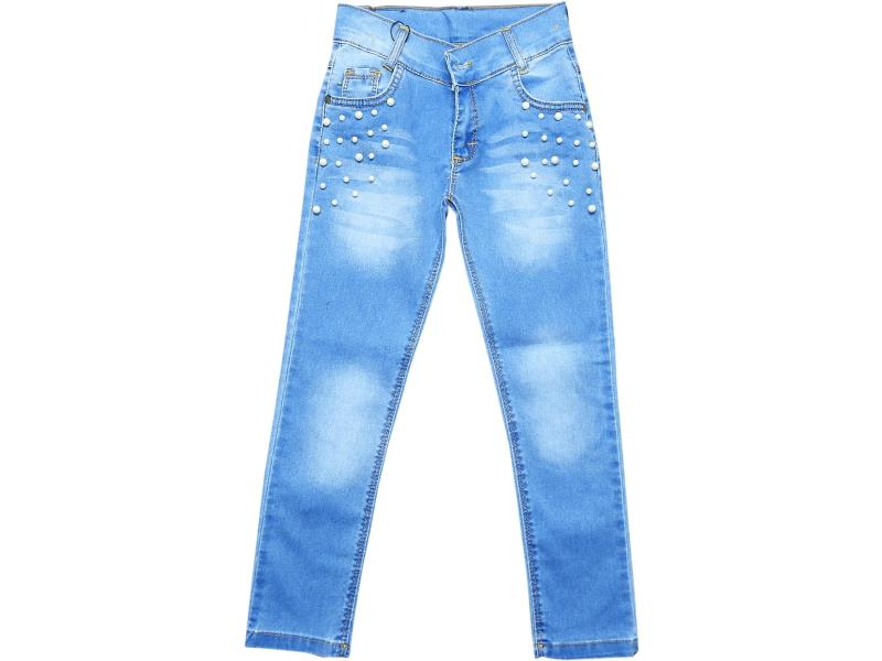 4355 Wholesale denim faded pant for girl kids clothes (3-4-5-6-7 age)