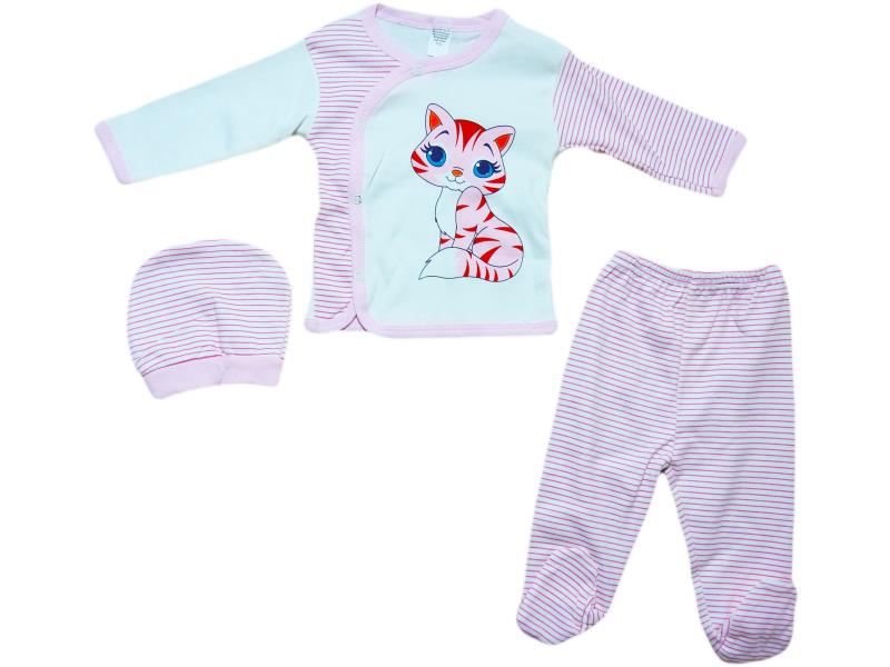 "573 Set for newborn 3 items, a shirt with a print ""kitten""+slider+cap,for girls 0 - 3 months"