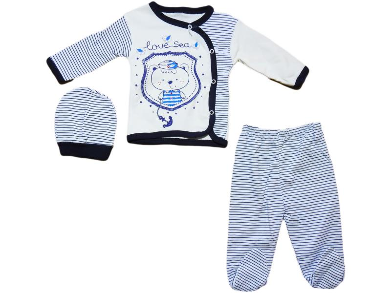 "574 Set for newborn 3 items, a shirt with a print of ""bear cub""+slider+cap,for girls 0 - 3 months"