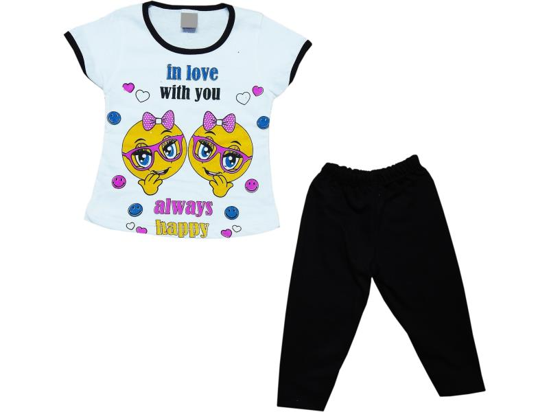 002 Wholesale assorted printed design t-shirt with tights sets for kids (1-2-3-4 age)