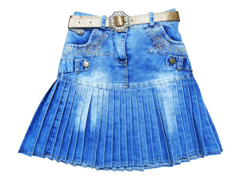 404 Wholesale pleated denim skirt for girl kids clothes (9-10-11-12 age)