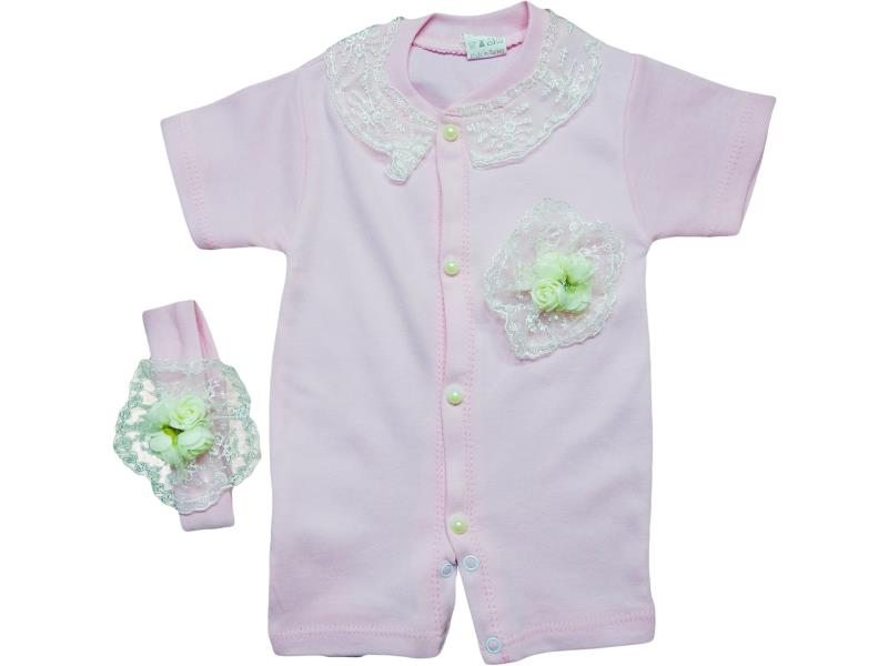 804 Wholesale flower applique sleeveless romper with headband set for girl baby clothes (0-3-6 month)