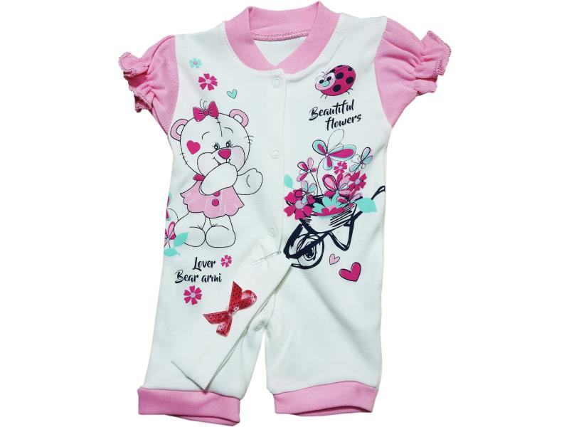 185 Wholesale bear printed short sleeve romper for girl baby clothes (3-6-9 month)
