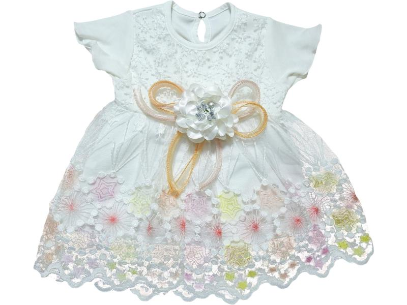 709 Wholesale flowery tulle dress for girl baby clothes (6-12-18 month)