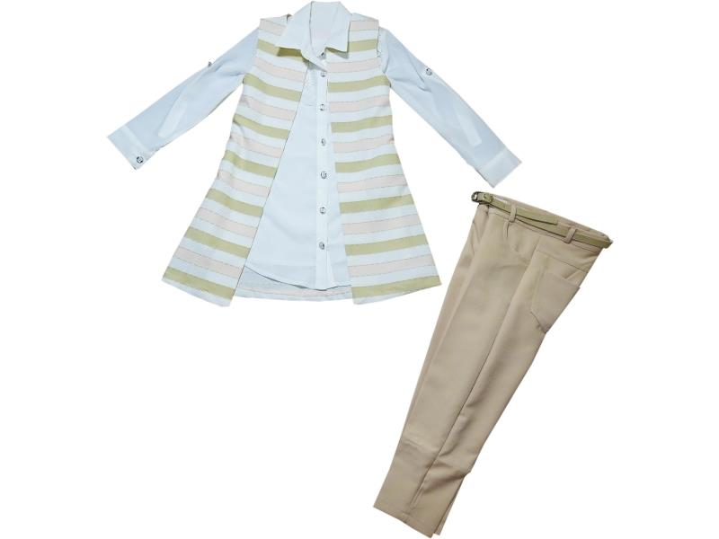 8036 Wholesale cardigan with pant set for girl children clothes (5-6-7-8 age)