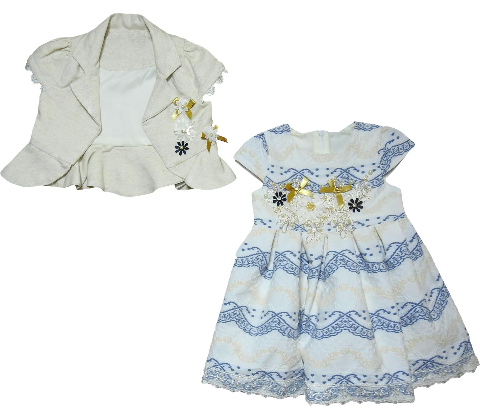 219 Wholesale embroidery dress with bolero set for girl children clothes (2-3-4-5 age)