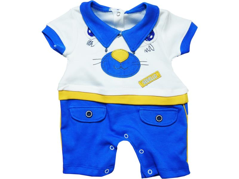 1081 Wholesale bear face printed romper for boy baby clothes (3-6-9 month)
