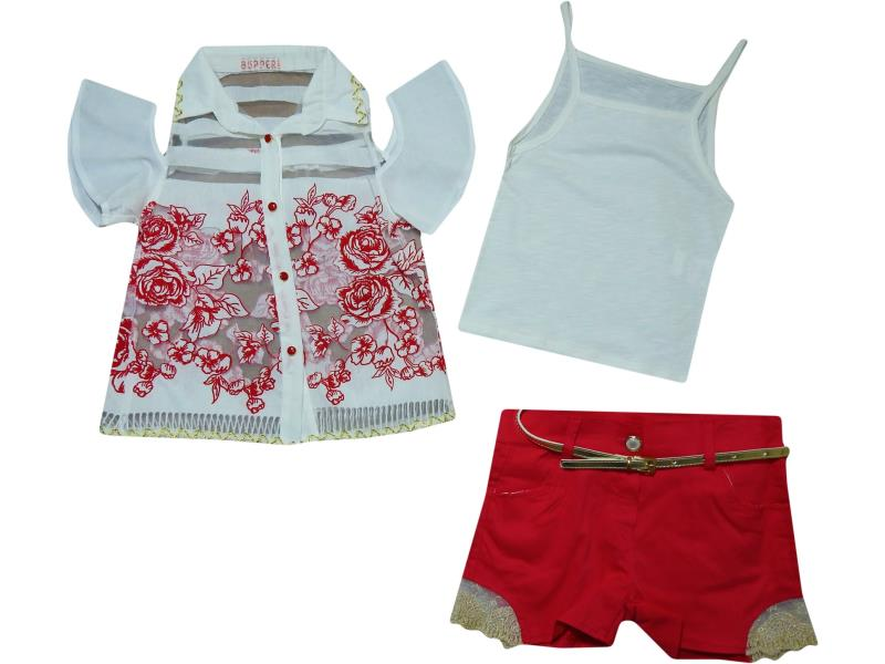 18188 Wholesale children's suit of three item, blouse+t-shirt + shorts for girls 2-3-5 years