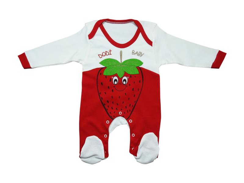 664 Wholesale strawberry printed romper for girl baby clothes (3-6-9 month)