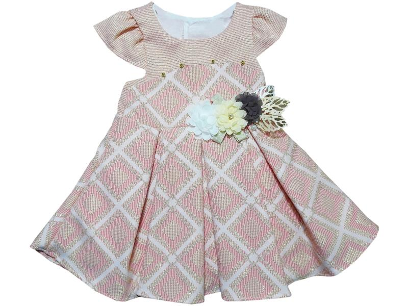 684 Wholesale flowery applique dress for girl children clothes (1-2-3-4 age)
