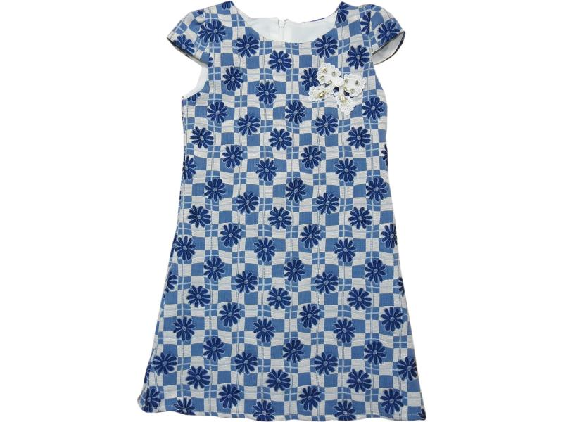 8119 Wholesale flowery embroidery dress for girl kids clothes (1-2-3-4 age)